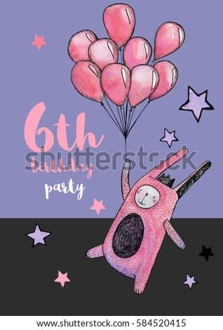 Watercolor Pink Rabbit Magic Birthday Card Stock Illustration