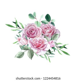 Watercolor pink roses and eucalyptus bouquet isolated on white background. Concept for card, invitation, poster, scrapbooking and wedding stationery design.