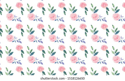 Watercolor pink roses seamless pattern