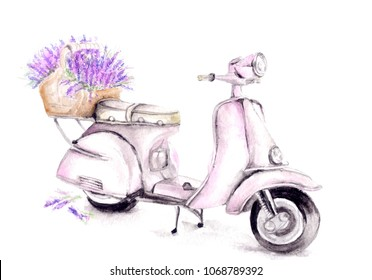 watercolor pink scooter