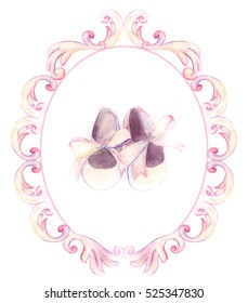 Watercolor pink shoes in ornate frame for a little girl. Hand-painted baby shower card