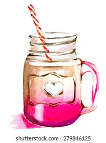 Watercolor pink smoothie bottle illustration