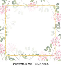 watercolor pink tiny flower branch with golden glitter square frame background for banner