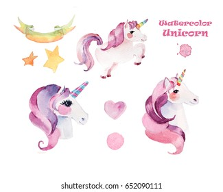 Watercolor pink unicorn, children's books, photo albums, interior, kindergarten. Illustration of isolated. Can be used to design greeting cards for holiday, birthday, invitations.