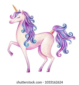 watercolor pink unicorn illustration, fairy tale creature, magical animal clip art, isolated on white background