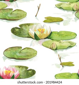 Watercolor pink water-lilly flower pattern set with green round leaves
