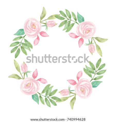 Watercolor Pink White Flower Wreath Wedding Stock Illustration