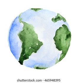 Watercolor planet Earth. Isolated planet on white background. Global ecology, environment and science.