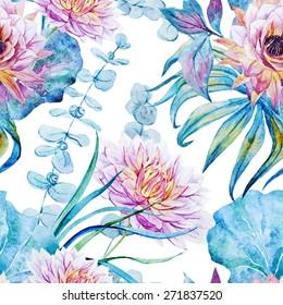 watercolor, plant, leaf, flower, lotus, pattern, seamless
