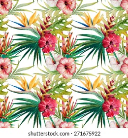 watercolor, plant, leaves, orchid, flower, Strelitzia, wallpaper, seamless