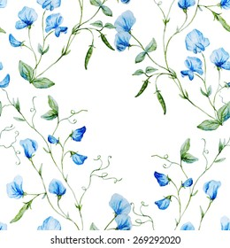 Watercolor, plant, sweet peas, botany, flower,, texture, wallpaper, seamless, blue