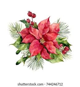 Watercolor poinsettia with Christmas floral decor. Hand painted traditional flower and plants: holly, mistletoe, berries and fir branch isolated on white background. Holiday print