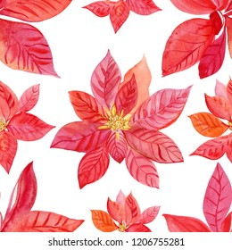 Watercolor poinsettia seamless pattern on white background. Christmas background. Concept for textile, fabric, wallpaper, wrapping paper, stationery design