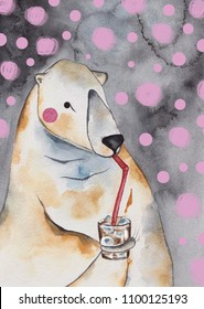Watercolor polar bear whith coctail. Handdrawing illustration.