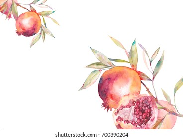 Watercolor pomegranate frame. Botanical illustration of fruit tree branches with ripe pomegranate and green leaves, its half with seeds. Card or banner design