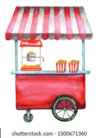 Watercolor popcorn cart, trolley, truck with popcorn boxes. Hand-drawn illustration with red street food cart isolated on a white background