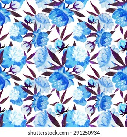 watercolor poppy element colorful abstraction, painting, seamless pattern, blue flower