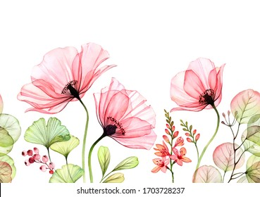Watercolor Poppy seamless border. Horizontal repetitive pattern. Abstract pink flowers with leaves and fresia branches on white. Botanical illustration for cards, wedding design