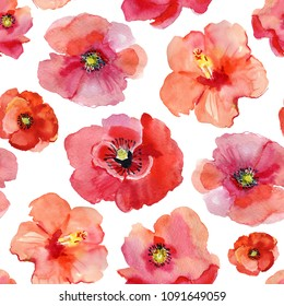 watercolor poppy seamless pattern. Hand painted. Isolated on white background. For design, print, textile and more