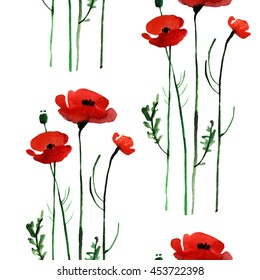 watercolor poppy seamless pattern. Hand painted. Isolated on white background