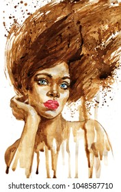 Watercolor portrait of african woman. Hand drawn fashion illustration. Painting sexy lady on white background with splashes