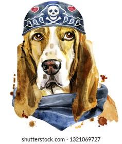 Watercolor portrait of basset hound wearing biker bandana