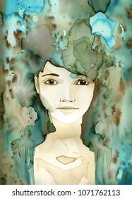 Watercolor portrait of a beautiful woman.