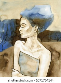 Watercolor portrait of a beautiful woman.