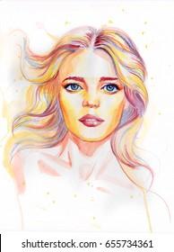Watercolor portrait of beautiful woman