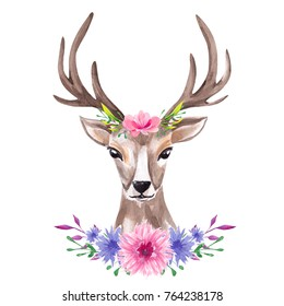 Watercolor portrait of the cute deer in floral wreath