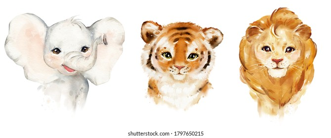 Watercolor portrait elephant, tiger, lion, kids cute baby animal