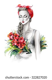 Watercolor portrait of a fashion girl with flowers. Grayscale stylization. Hand drawn raster illustration.