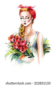 Watercolor portrait of a fashion girl with kerchief and red flowers. Hand drawn raster illustration.