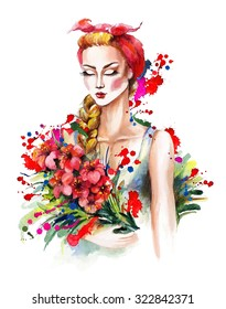 Watercolor portrait of a fashion girl with kerchief and red flowers.  Stylization with bright colored splashes. Hand drawn raster illustration.