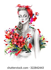 Watercolor portrait of a fashion girl with kerchief, red flowers. Grayscale stylization with bright colored splashes. Hand drawn raster illustration.