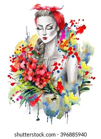 Watercolor portrait of a fashion girl with kerchief and red flowers.Drips and splashes on a white backgrounds. Hand drawn raster illustration.