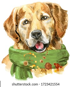 Watercolor portrait of golden retriever with green scarf