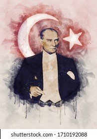 Watercolor portrait illustration of Mustafa Kemal Ataturk with turkish flag on background