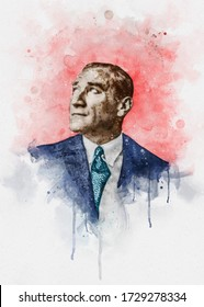 Watercolor portrait illustration of Mustafa Kemal Ataturk