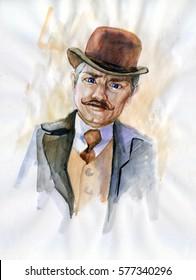 Watercolor portrait of man