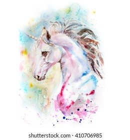 watercolor portrait of  pink and blue unicorn on the colorful background
