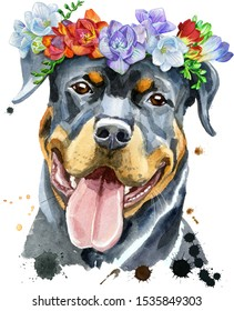 Watercolor portrait of rottweiler in a wreath of freesia