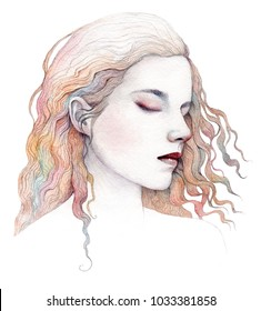 Watercolor portrait of a sleeping girl. Isolated on a white background.