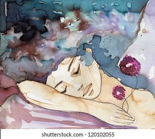 watercolor portrait of a sleeping woman.