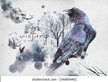watercolor portraits of crows and birds, winter landscapes Birds and big scenes with winter woodlands and mountains for the winter calendars and small planners; ready-made designs, invitation post-car