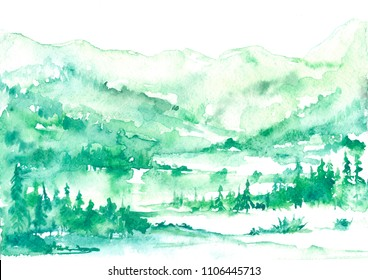 Watercolor postcard, card, green Background for your design. With vintage drawings snow tops, mountains, pine forest, pine, fir, cedar, fir. Forest, wilderness, suburban landscape. Art illustration.