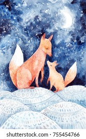 Watercolor postcard with foxes. Black winter night and snow. Merry Christmas greeting card. Cute animals