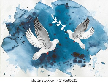 watercolor postcard for international peace day