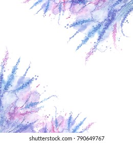 Watercolor postcard with a pattern of blue flowers, lavender, plants, splash of paint, abstract spots. Stylish vintage card. Blue, purple, pink, lilac. Watercolor background, label