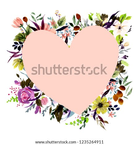 watercolor postcard template heart shape on stock illustration